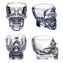 Wholesale Doomed Skull Glass Cup - Doomed Crystal Skull Cup Skull Head Vodka Whiskey Shot Glass Pirate Vaccum Glasses Beer Mug Drinking Ware 80ml 2.5ounces Free DHL Factory