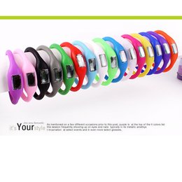 Wholesale Mini Trackers For Kids - Kids Gift Candy Color Mini Anion Pedometer Silicone Fitness Tracker Wristband Rubber Bracelet pedometer Portable For Outdoor Sport Xmas