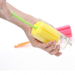 Wholesale Glass Cup Brush - 10pcs lot Long Handle Sponge Cleaning Brush Milk Bottle Glass Cup Scrubber Feeding Bottle Cleaner Kitchen Washing Cleaning Tools