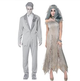 Wholesale Zombie Bride Costumes - Halloween Costumes New Zombie Mens Vampire Ghost Bride Character Hell Goddess Girl Zombie Masquerade Ghost groom Performance Costumes