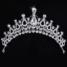 Wholesale Beauty Pageant Accessories - Free Shipping Cheap Crystal Bridal Cown Beauty Pageant Big Royal Crown Factory Best Price Hair Accessories Head Tiaras Prom Party Headpieces