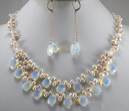 Wholesale Man Made Opal - Wholesale Mix Pearl&Man-made Opal Teardrop Faceted Dangle Earring Jewelry Set