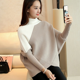 Wholesale Batwing Sleeve Knit - Wholesale- 2017 Autumn Winter New Women Turtleneck Sweater Batwing Sleeve Pullover Thickening Loose Fashion Sweater Women Q1825