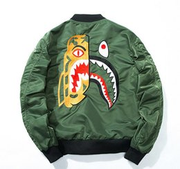 Wholesale Air Force High White - High version off white bae Embroidery flight bomber bomber jacket yeezus palace 1:1 baseball MA1 kanye west Air Force pilot jacket
