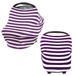 Wholesale Unique Seats - Breathable Stretchy Rayon Stripe Nursing Scarf Highchair Cover 4 in 1 Multi Uses Baby Unique Car Seat Covers