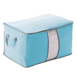 boxes for clothes Coupons - Wholesale- Blue Cover Of Storage bag Bag Storage bag Box Foldable For Quilt Clothing 60X42X36cm