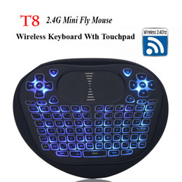 Wholesale T8 Xbox - Backlight Wireless Mini Keyboard with Touchpad 2.4G Fly Air Mouse Backlit T8 Remote Control for Android 7.1 Smart TV Box Xbox Gamepad I8