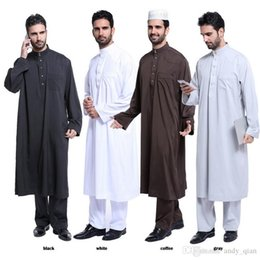 Wholesale Ethnic Clothing - Islamic Long Gowns Ethnic Clothing Mens Arab Muslim Robes Pure Color Mid-East Fahion 2017 New Hot Arrival TH805
