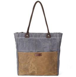 Wholesale Canvas Tote Bag Factory - factory sales brand bags fashion color canvas shoulder bag vintage waterproof wax canvas woman shoulder bag multi-purpose canvas handbag