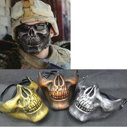 2019 человеческие лица хэллоуин маски Пластиковый ужас череп челюсть Маска террор половина лица Ши человеческий скелет воин призрак маска для Хэллоуина дешево человеческие лица хэллоуин маски
