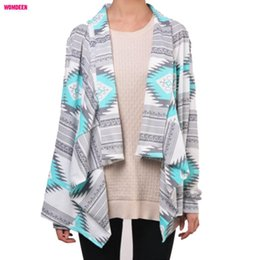 Wholesale Womens Warm Winter Sweaters - Wholesale-Retro Style Lady Knitted Cardigan Winter Autumn Collarless Long Sleeve Tribal Print Asymmetrical Womens Warm Sweaters for Women