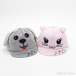 Wholesale Pinstripe Hats - 2017 Boys Girls Cartoon Caps Dog And Cat Design Pinstripe Summer Hats Baby Toddler Infant Adjustable Sun Hats Decoration