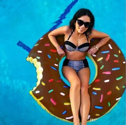 Wholesale Kids Swimming Item - Wholesale 2017 New 90cm Gigantic Donut Swimming Floats Inflatable Swimming Ring Adult Pool Floating Summer Beach Toys