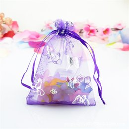 Wholesale Drawstring Jewelry Pouch Purple - 100 Pcs Light Purple Butterfly Organza Jewelry Gift Pouch Bags 7x9cm (2.7X 3.5 inch) DIY Gift Drawstring Bag Organza Gift Candy Bags