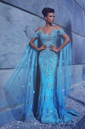 Wholesale Mermaid Scoop Sweep Prom Dress - Arabic Mermaid Prom Dresses Off the Shoulders Formal Evening Gowns New Arrival Pageant Dresses Beaded Appliques Long Dresses Evening Wear