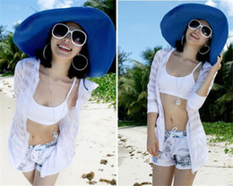 Wholesale silver wide brim hat - 60pcs 18 colors women Ladies spring and summer sun hat tide straw hat beach hat for holiday eaves R022
