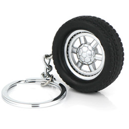 Wholesale Auto Parts Wheels - 10pcs Lot Tire Keychain Creative Auto Parts Model Spinning Rubber Wheel Tyre Key Chain Ring Keyring Keyfob 86023