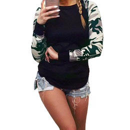 fashion womens sweatshirt wholesale Coupons - Wholesale- Fashion Womens Casual Sweatshirts Camouflage Sleeve Tops Shirt Ladies Loose Hoodies Harajuku Tracksuits Female Sudaderas W2