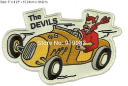 "Wholesale Devil Motorcycle - 6"" VINTAGE STYLE 1950s REPRO THE DEVILS MC HOT ROD CLUB ROCKABILLY GREASER Embroidered Motorcycle Biker Vest Patch IRON ON Badge"