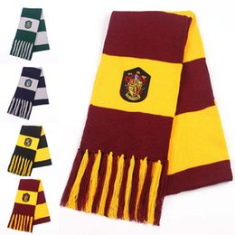 Wholesale Hufflepuff Scarf - Harry Gryffindor Ravenclaw Hufflepuff Slytherin Badge Scarves Double Layer Tassels Scaves for Women Men Potter Fans Fashion Gift Drop ship
