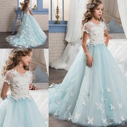 Wholesale Glitz Pageant Dress T - 2017 New Short Sleeves Pretty Lace Applique Girls Pageant Dresses for Teens With Train Graduation Kid Glitz Little Flower Girl Prom Dresses