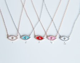 Wholesale solid sterling silver chains - promation 2017 Full CZ Solid 925 Sterling Silver Evil Eye Hamsa White\red\pink enamel Women Pendant Necklace diy making for women gift