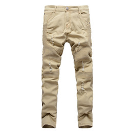 Wholesale Fly Hole - 2017 New Arrival Khaki Biker Jeans Pleated Design Mens Skinny slim Stretch Denim pants Hip-Hop Street Destroyed Ripped Jeans 32-36