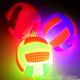 Wholesale Led Flashing Bounce Balls - Wholesale-LED Light Up Flashing Rubber Sound Volleyball Bumpy Kids Toys High Bouncing Balls Party Favor Halloween Christmas