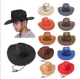 Wholesale Cowgirl Hats Wholesale - Men Western Cowboy Hat Brim Cap Retro Sun Visor Knight Hat Headwear Cowgirl Wide Brim Hats 15 Colors OOA2492