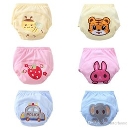 Wholesale Wholesale Baby Cloth Training Pants - Toilet Pee Potty Training Pants Baby Embroidered 3 Layers Cotton Cloth Diapers Infant Cute Elephant Tiger Rabbit Strawberry Underwear H224