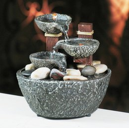 Wholesale Bowl Fountain - LLFA4606 Free shipping Indoor Water Fountain With Led Lights Coast Tiered Rock Bowl Fountain Beautiful Arts and Crafts