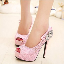 Wholesale Girls Pink Party Shoes Lace - 2017 Fashion Lady New Design Summer High Heel Pump Shoes Latest High Heel Shoes for Girls Women Free Shipping 170512B3
