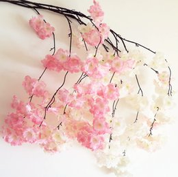 Wholesale Sakura Wedding - Fake Cherry Blossom Flower Branch Begonia Sakura Tree Stem 130cm Long for Event Wedding Party Artificial Decorative Flowers