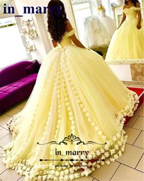 Wholesale Cheap Masquerade Prom Dresses - 2017 Yellow Ball Gown Quinceanera Dresses with Hand Made Flowers Off Shoulder Sweet 16 Plus Size Princess Tulle Cheap Masquerade Prom Gowns