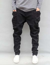 Wholesale Trousers Harem Pants Hip Hop - Wholesale-Autumn Winter Trousers Big Size S-6XL 7XL=46 New Fashion Casual Jeans Mens Joggers Loose Denim Pants Pockets Hip Hop Harem Black