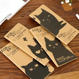 Wholesale Agenda Cat - Wholesale- 1pcs lot Vintage Black Cat series Blank Kraft paper notebook Travel Diary agenda pocket book office school supplies