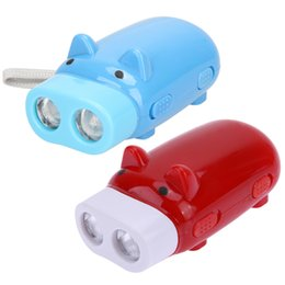 Wholesale Little Led Lights - Little Pig Shape Tube Mini Keychain LED Flashlight Torch Outdoor Camping Hiking Portable Lights Hand Pressing Power With Retail Box