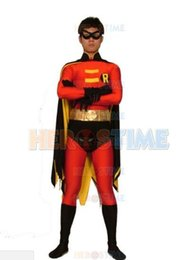 Canada Film (SUP947) série Batman Red Robin Lycra Spandex super héros Costume Cosplay Zentai Halloween Costume Offre
