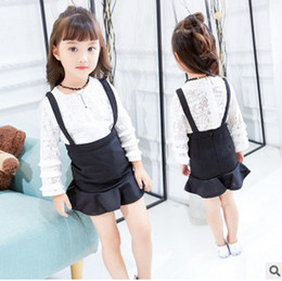 Wholesale Cute Suspender Skirts - Baby Kids princess outfits 2017 spring children lace hollow out lattice tiered sleeve T-shirt + falbala suspender skirt 2pcs sets T1745