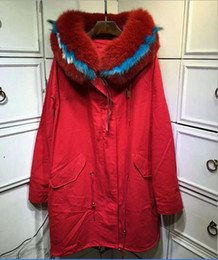 Wholesale Outdoor Trimmers - Outdoor winter coats Red blue white fur trim Italy rabbit fur lining red long parka furs cold snow jackets the same style as MR