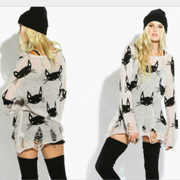 Wholesale Long Sleeve Cat Blouses - New Knitwear Women Novelty Casual Blouse Cat Head Pattern Hollow HOLE Hem Sheer Knitted Pullover Sweater shirt