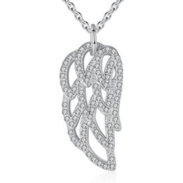 Wholesale Sterling Feather Necklaces - BELAWANG 925 Sterling Silver Angel Wings Clear CZ Pendant Necklace Feather Shape Necklace Luxury 925 Sterling Silver Jewelry Gift For Women