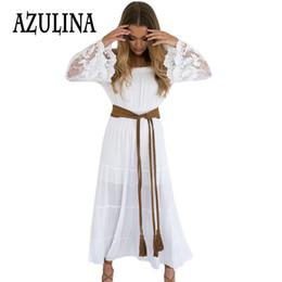 Wholesale Maxi Dress Belt White - Wholesale- AZULINA Chiffon Summer Dress For Women White Lace Long Maxi Dress Fashion Off Shoulder A Line Vestido Robe Femme With Belt