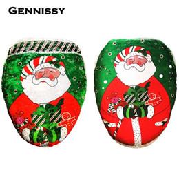 Wholesale Fancy Ornaments - Wholesale-4 Styles Fancy Happy Santa Toilet Seat Cover Rug Bathroom Set Decoration Rug Christmas Decoration