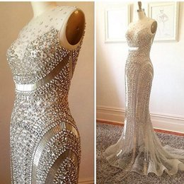 Wholesale See Through Dress Beading - 2016 Bling Luxury Beading Crystal Evening Prom Dresses Mermaid Illusion Neck See-through Sexy Bridal Party Red Carpet Custom Made