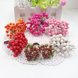 Wholesale Cheap Fake Flowers For Weddings - Wholesale-Cheap 25Pcs 50heads 0.6cm Berry Bacca Artificial Flower For Wedding Decoration DIY Scrapbooking Decorative Wreath Fake Flowers