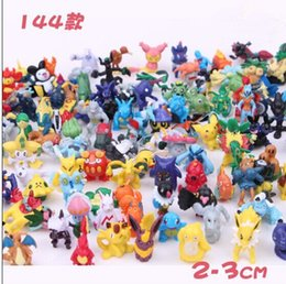 Wholesale Toy Bag Pvc - 144pcs bag Pocket Monster Poke Go Pikachu Charmander Souirele Bulbasaur Animal Toys Doll 2-3cm Free Shipping