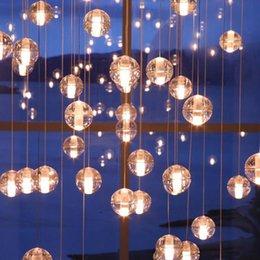 Wholesale Glass Ball Pendant Light White - G4 LED Crystal Glass Ball Pendant Lamp 3 5 7 15 26 head Rain Ceiling Bocce Lights Meteoric Bar Droplight Chandelier Lighting