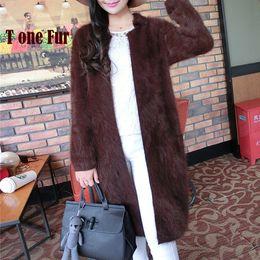 Wholesale Real Mink Fur Coats Women - Wholesale- 2017 100% Pure Mink Cashmere Long Coat Lady Fashion Real Mink Cashmere Nature Fur Jacket Wholesale OEM Sweater KFP941