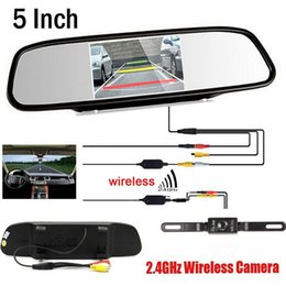 Wholesale Rearview Backup Camera - Wireless Video Car CCD Rear View Camera Car parking backup camera Connect HD 5 inch Rearview Mirror Parking Monitor,FreeShipping